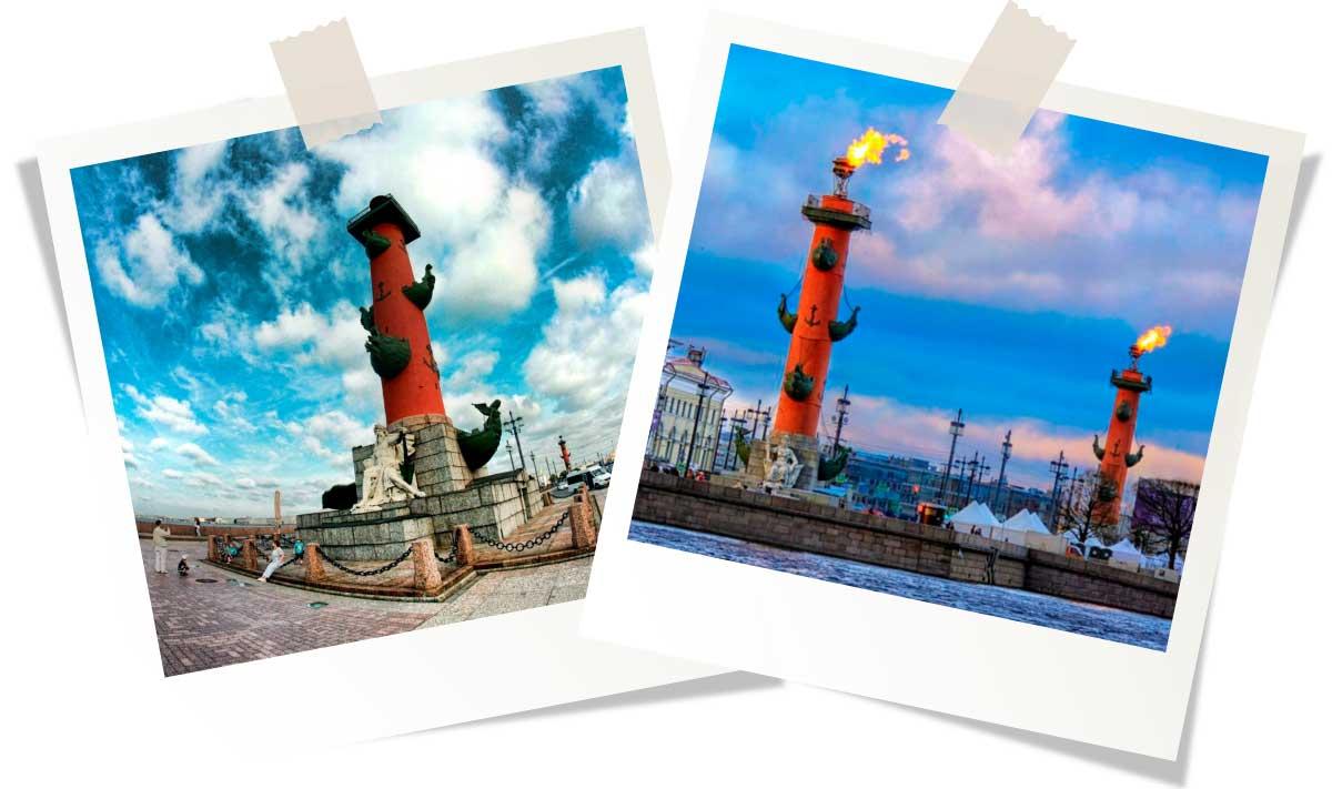 Достопримечательности Санкт-Петербурга: Ростральные колонны